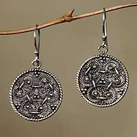 Sterling silver dangle earrings, 'Denpasar Treasure' - Hand Made Sterling Silver Dangle Earrings