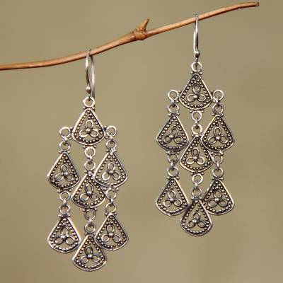 Sterling silver chandelier earrings, Bali Belle