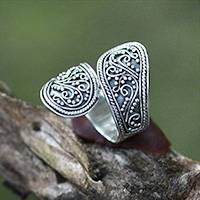 Sterling silver wrap ring, 'Together'