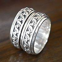 Sterling silver spinner ring, 'Traditions' - Sterling Silver Meditation Spinner Ring