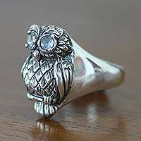 Blue topaz cocktail ring, 'Java Owl' - Artisan Crafted Sterling Silver and Blue Topaz Ring