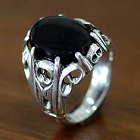 Men's onyx ring, 'Music of the Night'