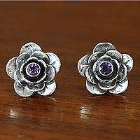 Amethyst flower earrings, 'Camellia'