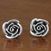 Sterling silver flower earrings, 'Sweetheart Rose' - Fair Trade Sterling Silver Button Earrings