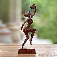 Wood sculpture, 'Reaching for Love' - Hand Made Romantic Wood Sculpture