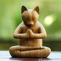 Wood sculpture, 'Kitty Cat Prayer' - Yoga Pose Balinese Wood Cat Sculpture