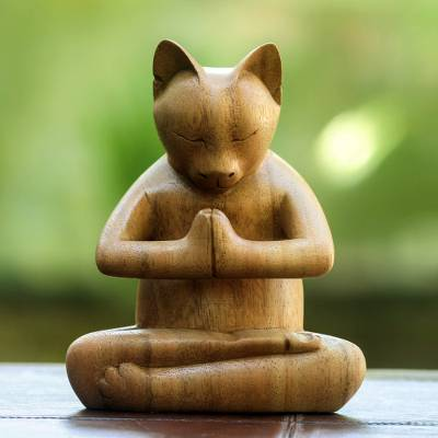 Wood sculpture, Mindful Cat
