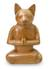 Wood sculpture, 'Cat in Deep Meditation' - Wood Cat Sculpture from Indonesia thumbail