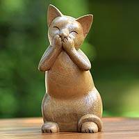 Wood sculpture, 'Speak No Evil Cat' - Suar Wood Sculpture