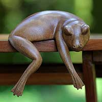 Wood sculpture, 'Sleeping Frog' - Wood sculpture