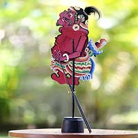 Leather shadow puppet, 'Delem the Clown' - Leather shadow puppet