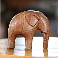 Wood sculpture, 'Modern Elephant' - Artisan Crafted Wood Sculpture