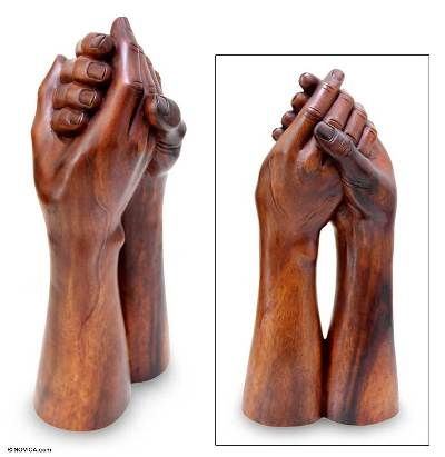 Wood sculpture, 'Strong Bonds' - Wood Sculpture from Indonesia
