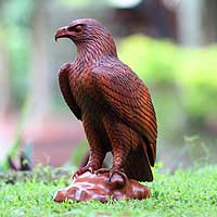 Wood sculpture, 'Bold Eagle' - Wood sculpture