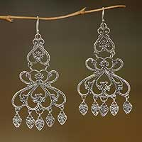 Sterling silver chandelier earrings, 'Her Elegance' - Indonesian Sterling Silver Chandelier Earrings