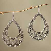 Sterling silver dangle earrings, 'Precious Moments' - Unique Sterling Silver Dangle Earrings