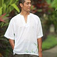 Men's cotton shirt, 'Bamboo Jungle' - Men's Hand Painted White Cotton Shirt