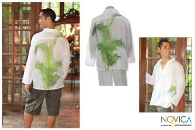 Men's cotton shirt, 'Bali Palm' - Men's Hand Painted Cotton Shirt