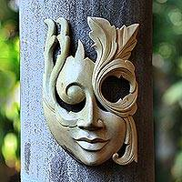 Wood mask, 'Blossoming Woman' - Modern Hibiscus Wood Mask