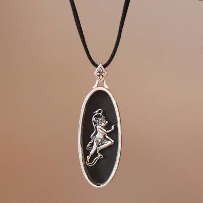 Sterling silver and wood pendant necklace, 'Hanuman' - Sterling silver and wood pendant necklace