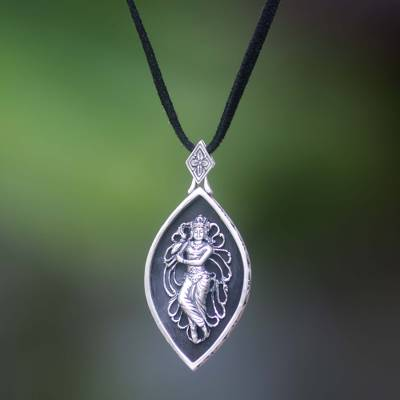 Sterling silver and wood pendant necklace, 'Krishna' - Sterling silver and wood pendant necklace