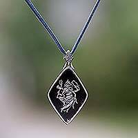 Sterling silver and wood pendant necklace, 'Ganesha' - Sterling silver and wood pendant necklace