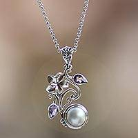 Cultured pearl and amethyst flower necklace, 'Bali Garden' - Pearl and Sterling Silver Necklace with Amethyst Accents