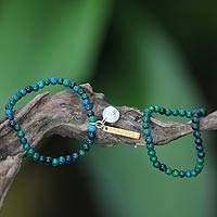 Chrysocolla stretch bracelets, 'Imagine If' (pair) - Beaded Chrysocolla Stretch Bracelets (Pair)
