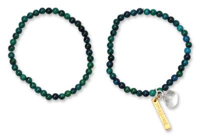 Beaded Chrysocolla Stretch Bracelets (Pair)