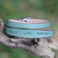 Leather wrap bracelet, 'Live Fully in Green' - Fair Trade Inspirational Leather Wrap Bracelet