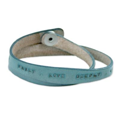 Fair Trade Inspirational Leather Wrap Bracelet