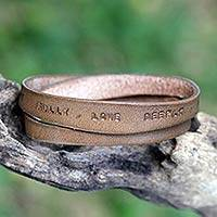 Leather wrap bracelet, Live Fully in Brown