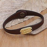 Leather wristband bracelet, 'Love' - Handmade Leather Wristband Bracelet