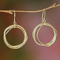 Gold plated dangle earrings, 'Tiga Surprise' - Unique 18k Gold Plated Dangle Earrings