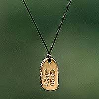 Gold plated pendant necklace, 'Love' - Unique Inspirational Gold Plated Pendant Necklace