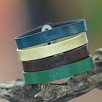 Leather wristband bracelets, 'Hope, Believe, Imagine and Dream' (set of 4) - Handcrafted Leather Wristband Bracelets (Set of 4)