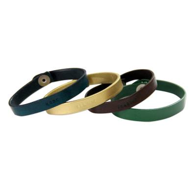 Handcrafted Leather Wristband Bracelets (Set of 4)
