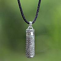 Men's leather locket necklace, 'Heart of Courage' - Men's Sterling Silver Locket Necklace