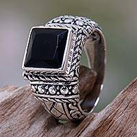 Men's onyx solitaire ring, 'Sultan' - Men's Sterling Silver and Onyx Ring