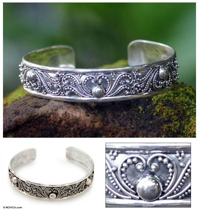 Sterling silver cuff bracelet, 'Kissed by Dew' - Sterling silver cuff bracelet