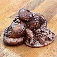 Wood sculpture, 'Quiescent Buddha' - Hand Carved Buddhism Sculpture