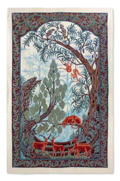 Batik art, 'Flora and Fauna' - Batik Wall Art