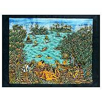 Batik art, 'Landscape of the Island of Bali' - Batik Wall Art