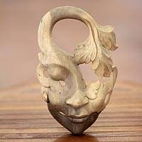 Wood mask, 'Shy Maiden' - Unique Contemporary Wall Mask