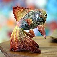 Wood sculpture, 'Graceful Koi' - Handcrafted Wood Fish Sculpture