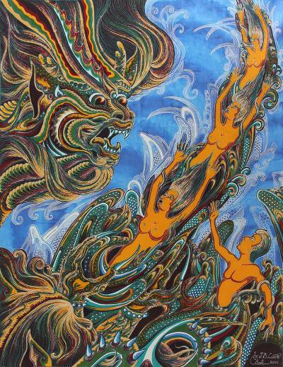 Batik art, 'Falling into Virtual Nature' - Batik art