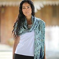 Silk batik shawl, 'Javanese Kingdom' - Silk batik shawl