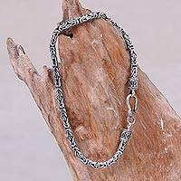 Mens sterling silver chain bracelet Borobudur Collection I (Indonesia)