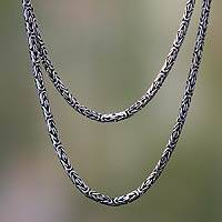 Sterling silver long chain necklace, 'Borobudur Collection I' (36 inch) - Handmade Indonesian Sterling Silver Chain Necklace