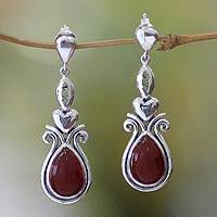Carnelian heart earrings, 'Sumatra Style' - Carnelian heart earrings